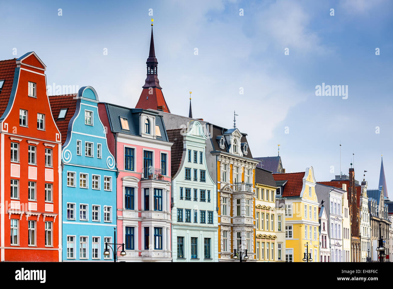 Rostock, Allemagne vieille ville paysage urbain. Photo Stock