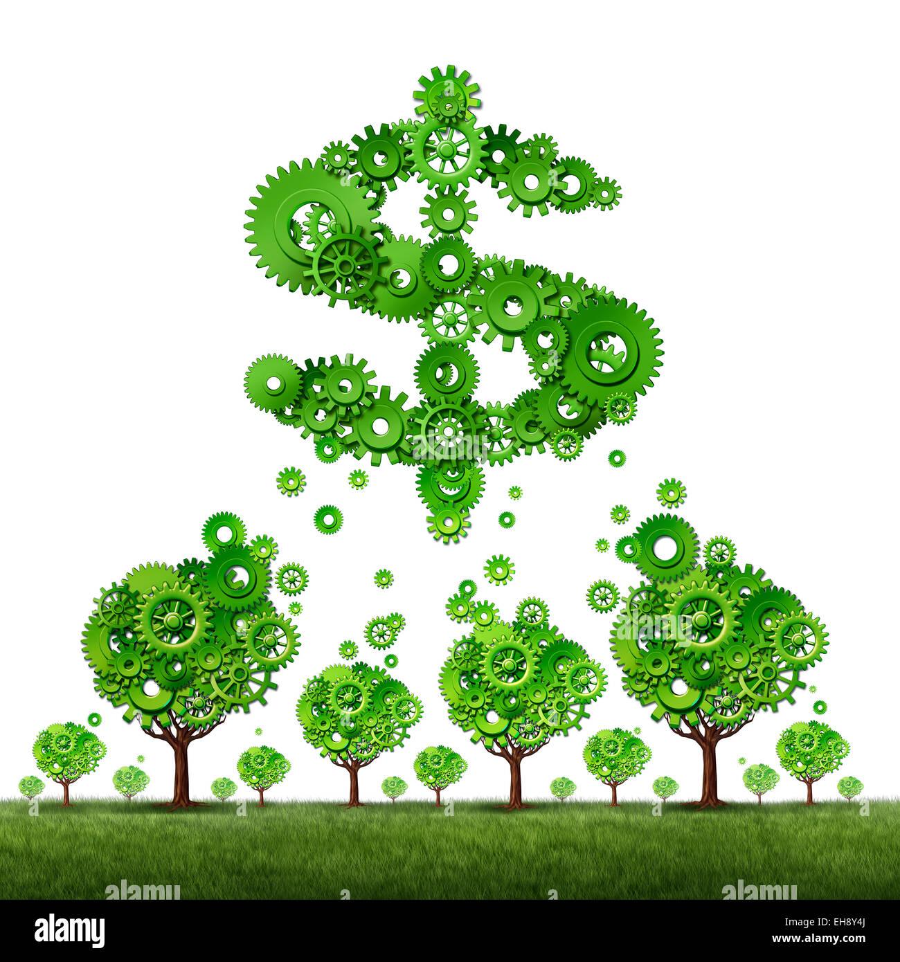 Crowdfunding et concept de revenu d'investissement collectif qu'un groupe d'arbres verts fait des vitesses Photo Stock