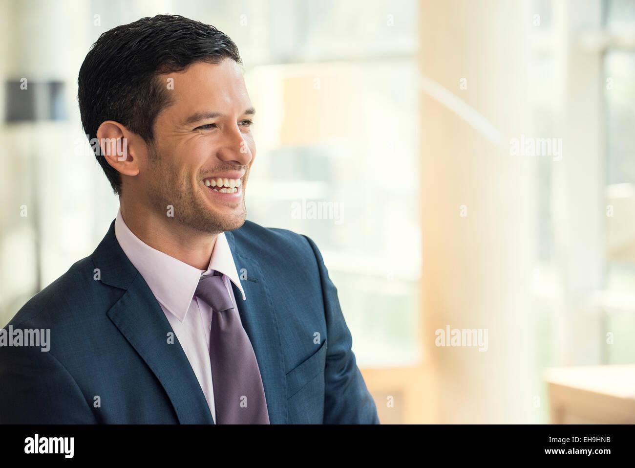 Businessman smiling gaiement Photo Stock
