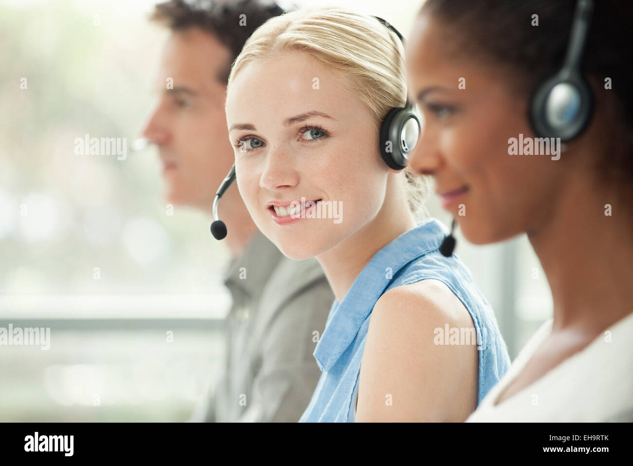 Travailler en call center Photo Stock