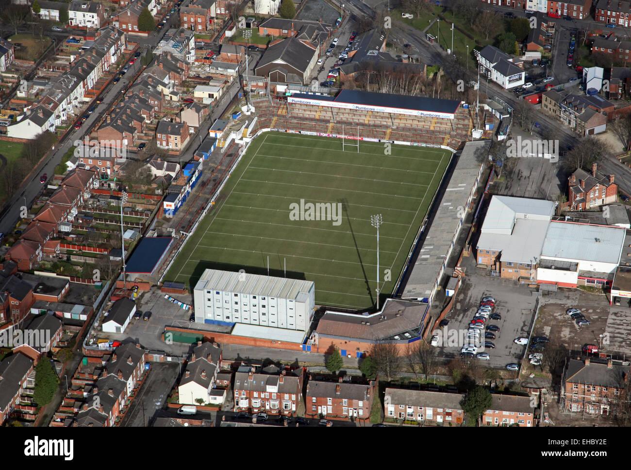 Vue aérienne de Wakefield Trinity Wildcats Rugby League stade de Belle Vue, Wakefield, Royaume-Uni Photo Stock