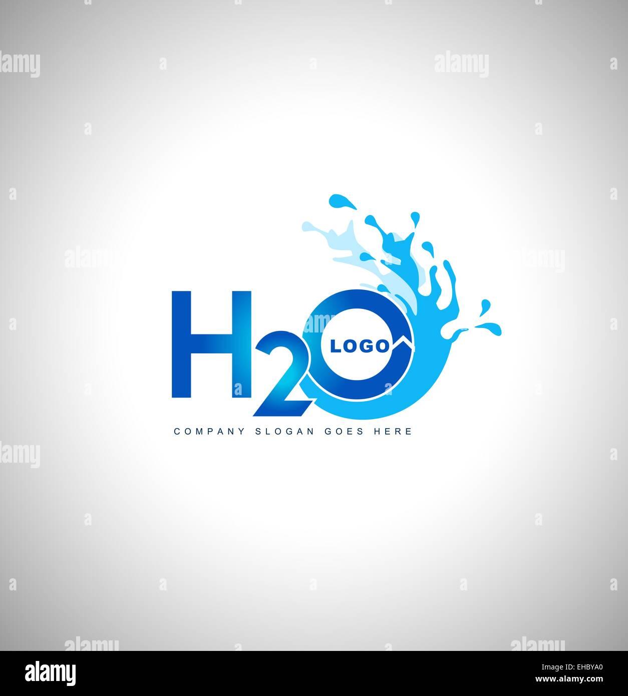 Logo de l'eau vector.Creative blue water splash avec des gouttes Photo Stock