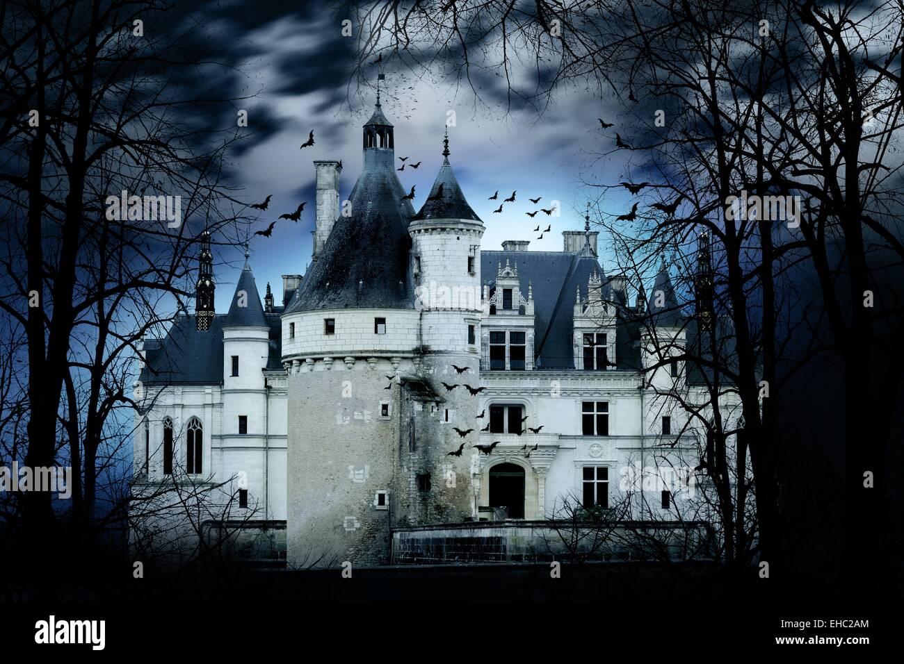 Château hanté avec atmosphère sombre horreur effrayant Photo Stock