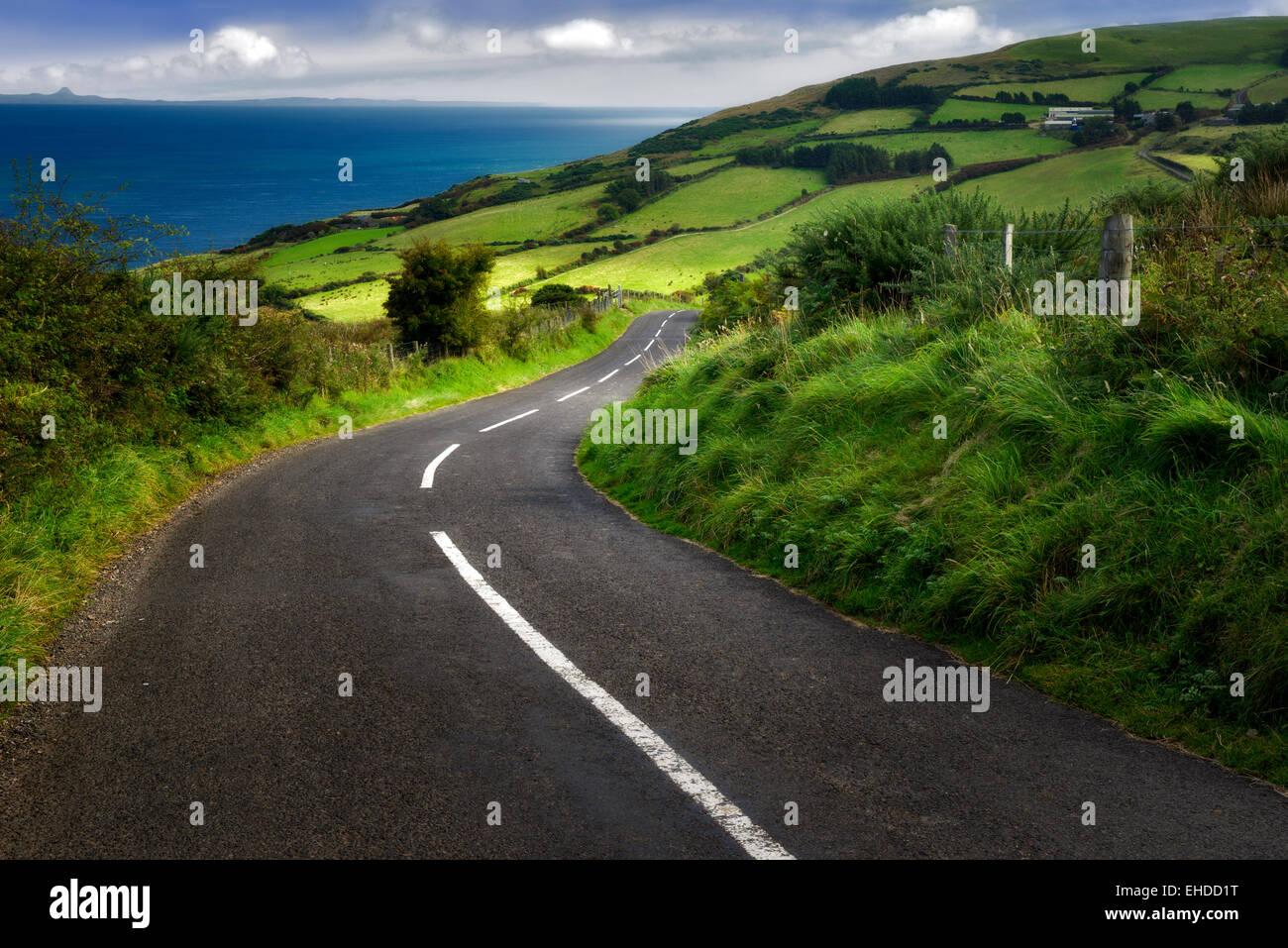 Route près de Torr Head avec des champs verts en arrière-plan. Côte d'Antrim en Irlande du Nord Photo Stock
