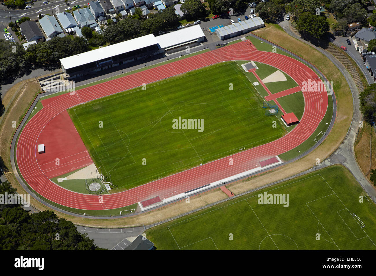 Newtown Park Terrain de sport, Wellington, Île du Nord, Nouvelle-Zélande - vue aérienne Photo Stock