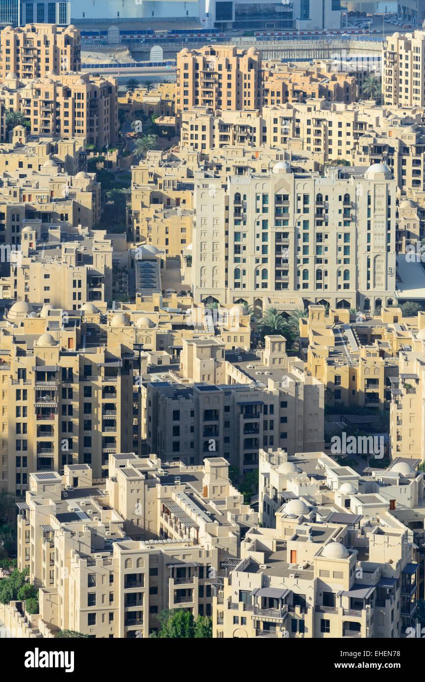 Vue sur vieille ville quartier résidentiel au centre-ville de Dubaï Émirats Arabes Unis Photo Stock