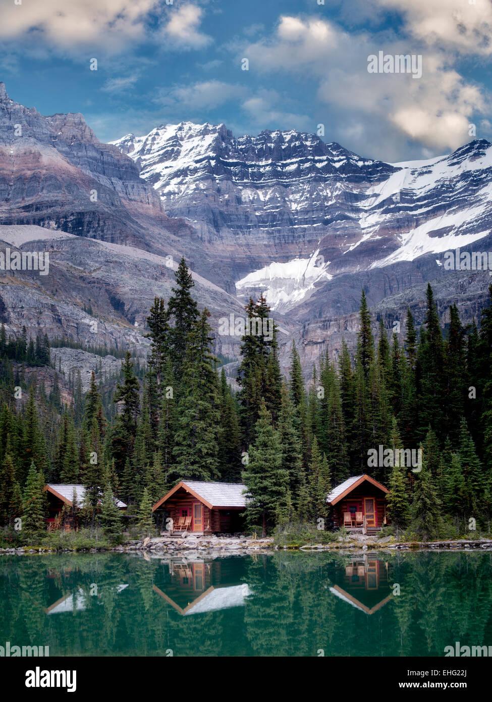 Cabines au lac O'Hara. Parc national Yoho, Plateau Opabin, British Columbia, Canada Photo Stock