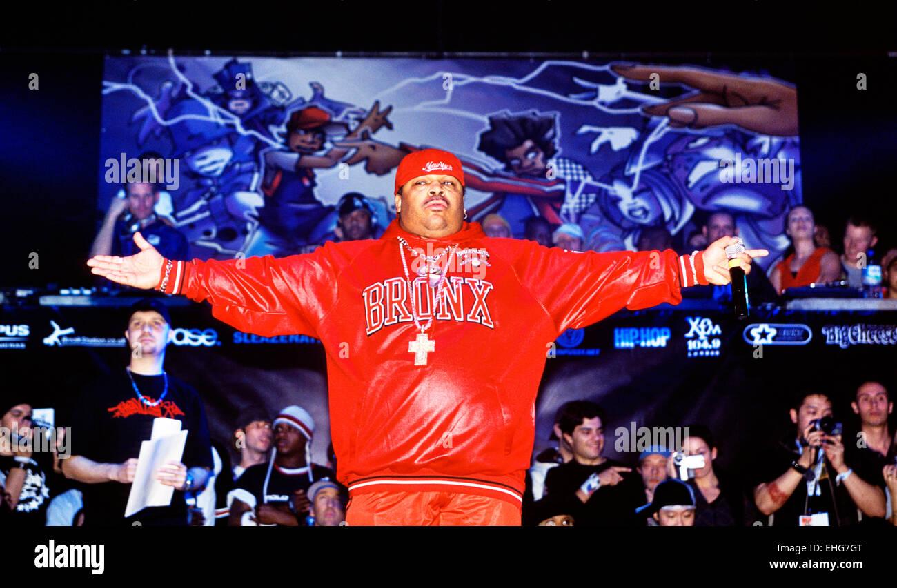 Compere au monde B-Boy Championships à Brixton Academy de Londres. Banque D'Images