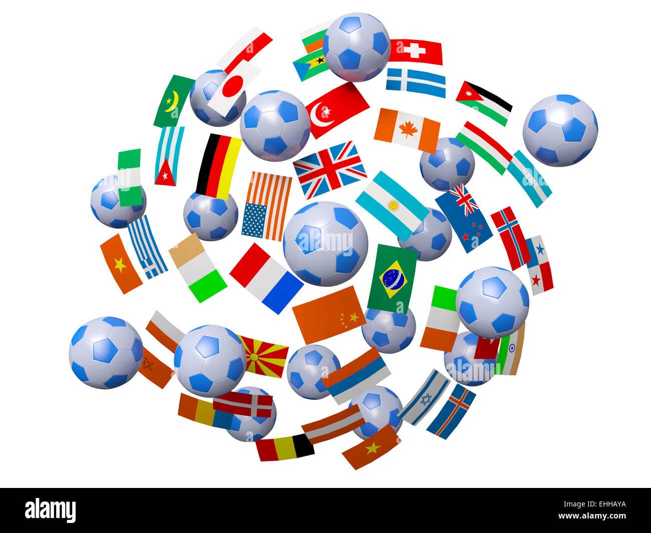 Ballons et drapeaux Banque D'Images