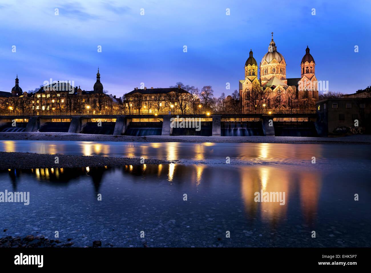 L'église Saint Luc, est la plus importante Église protestante à Munich, Allemagne Photo Stock