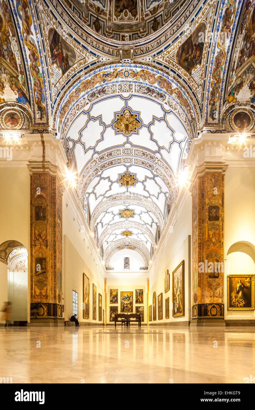 Musée des beaux-arts de Séville, Espagne, Museo de Bellas Artes Sevilla. Hall of fame gallery w grand Photo Stock