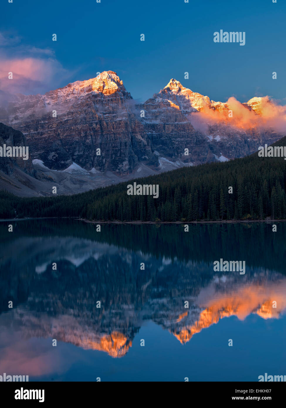 Le lac Moraine. Le parc national Banff. Alberta Canada. Photo Stock
