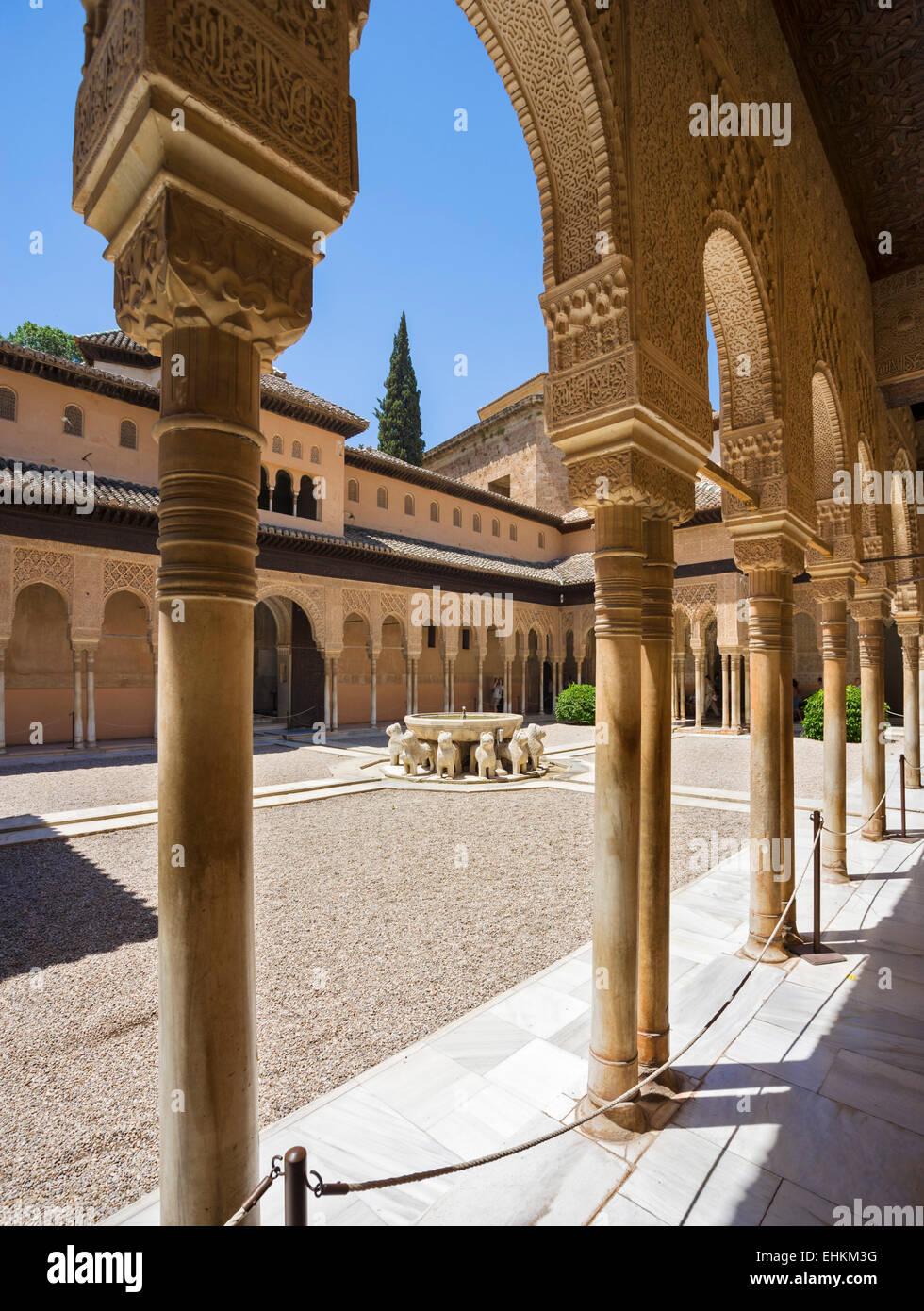 Grenade, l'Alhambra. Patio de los Leones (Cour des Lions ), Palacios Nazaries, Alhambra, Granada, Andalousie, Photo Stock