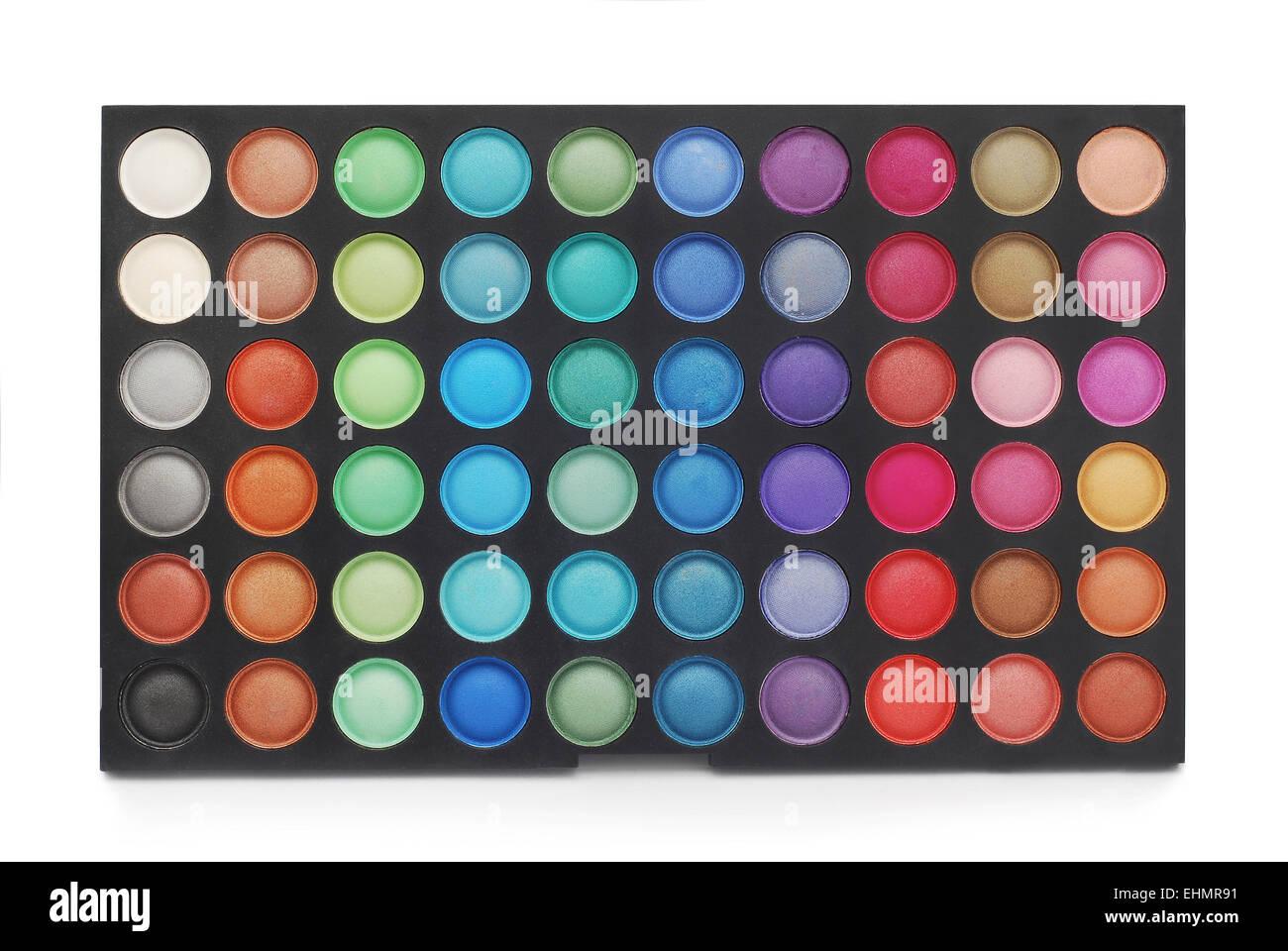 Palette de couleurs maquillage on white Photo Stock