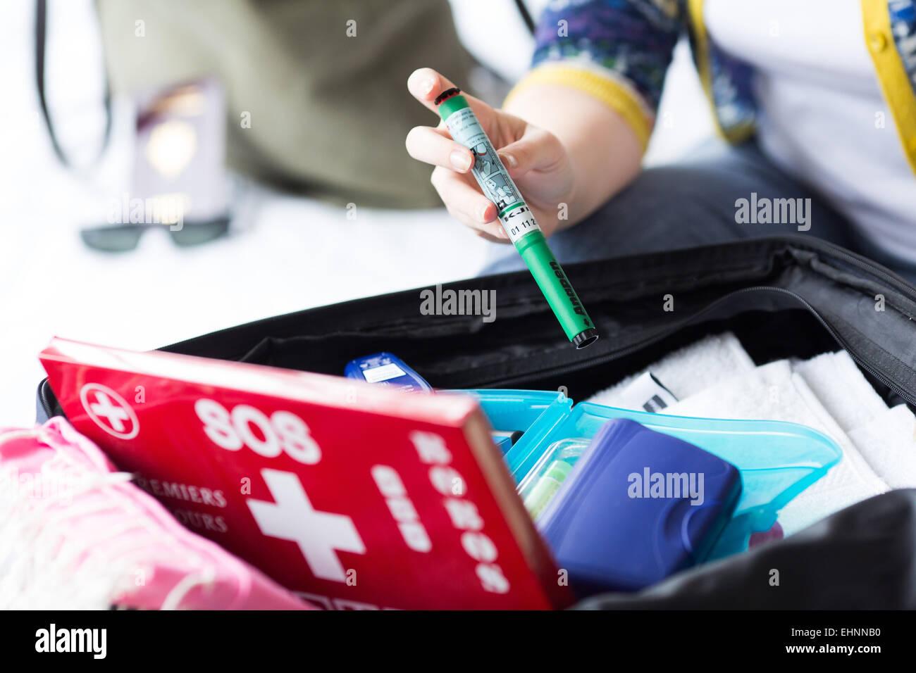 Anapen ®, auto-injecteur d'épinéphrine, un traitement d'urgence en cas de réactions Photo Stock