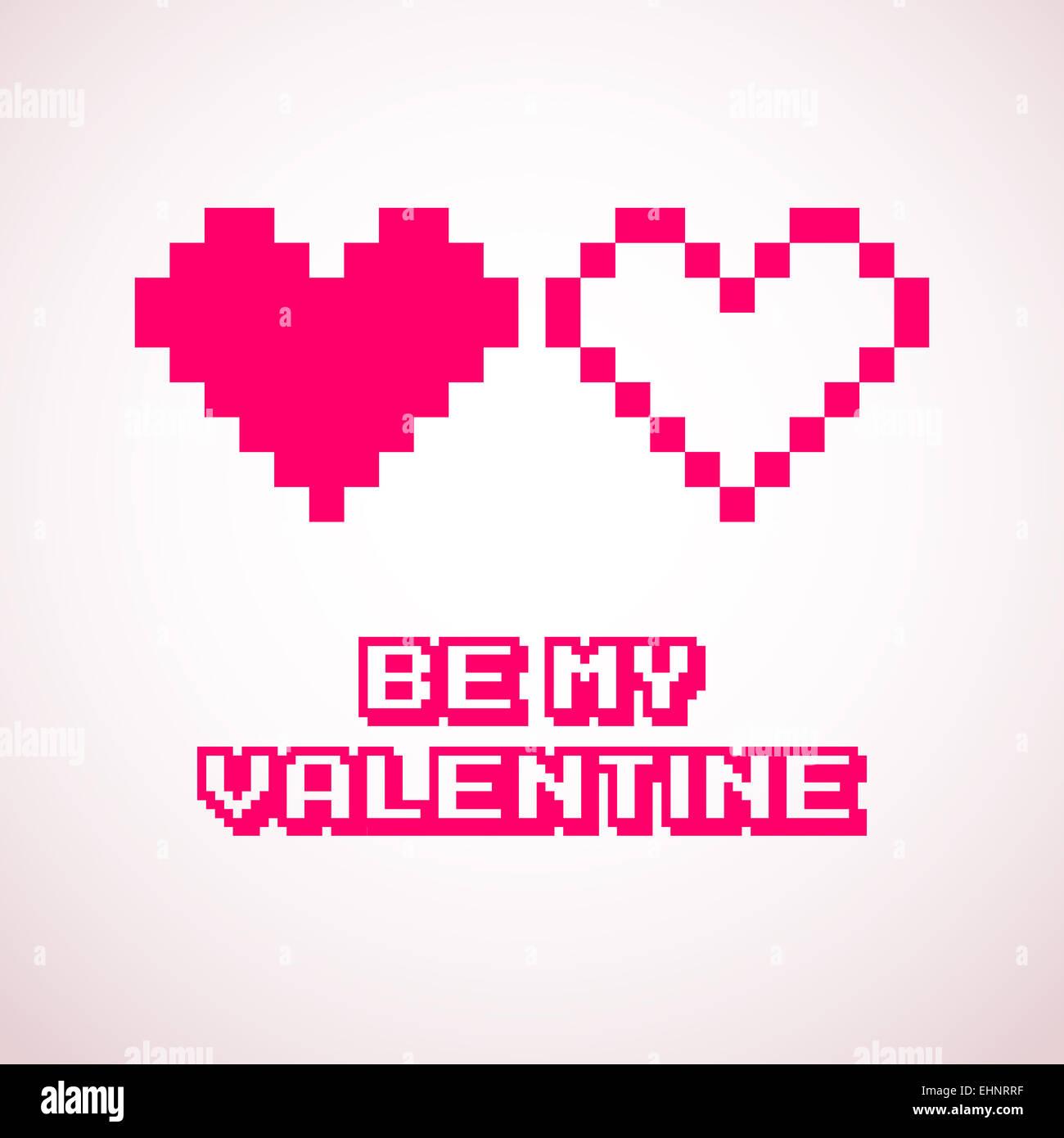 Coeurs Pixel Vectoriel Pour Les Cartes De Saint Valentin