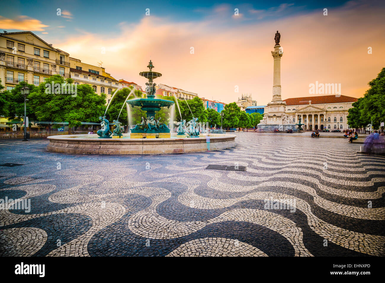 Lisbonne, Portugal cityscape at place Rossio. Photo Stock