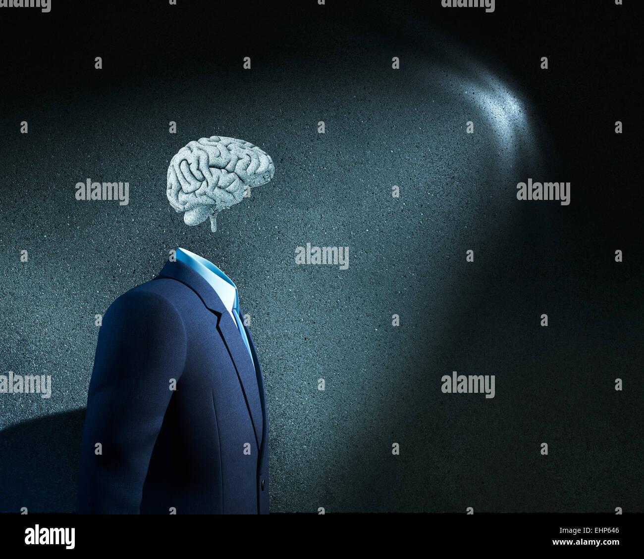 Businessman sans tête juste avec des croquis cerveau Photo Stock
