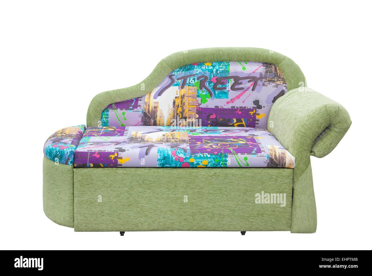 Canapé convertible sur fond blanc Photo Stock