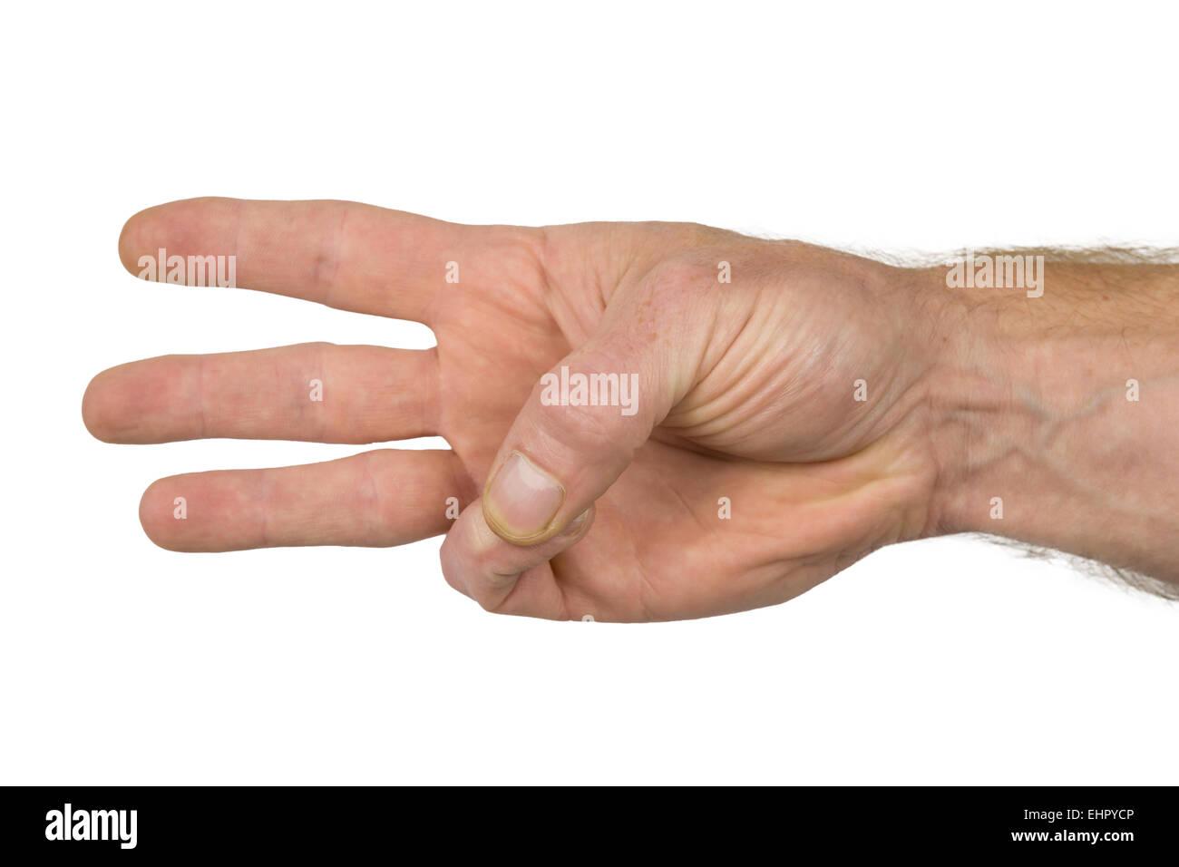 Trois doigts d'une main voir un signe Photo Stock