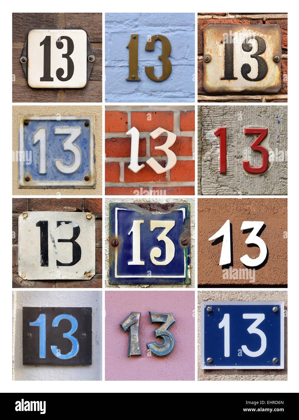 Numéro 13 - Collage de treize numéros de maison Photo Stock