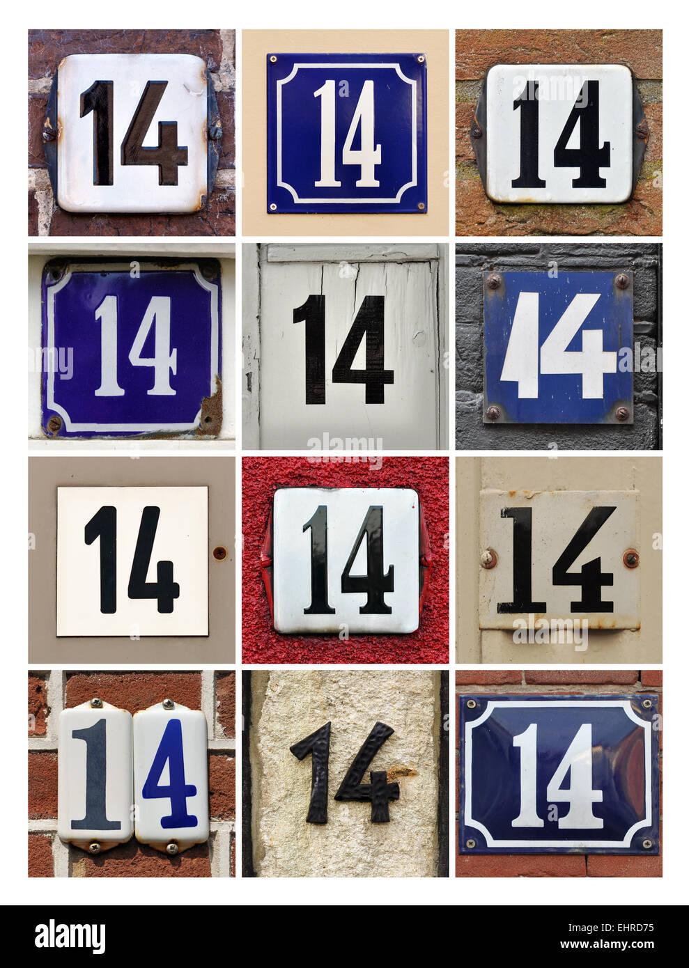 Numéro 14 - Collage de numéros de maison 14 Photo Stock