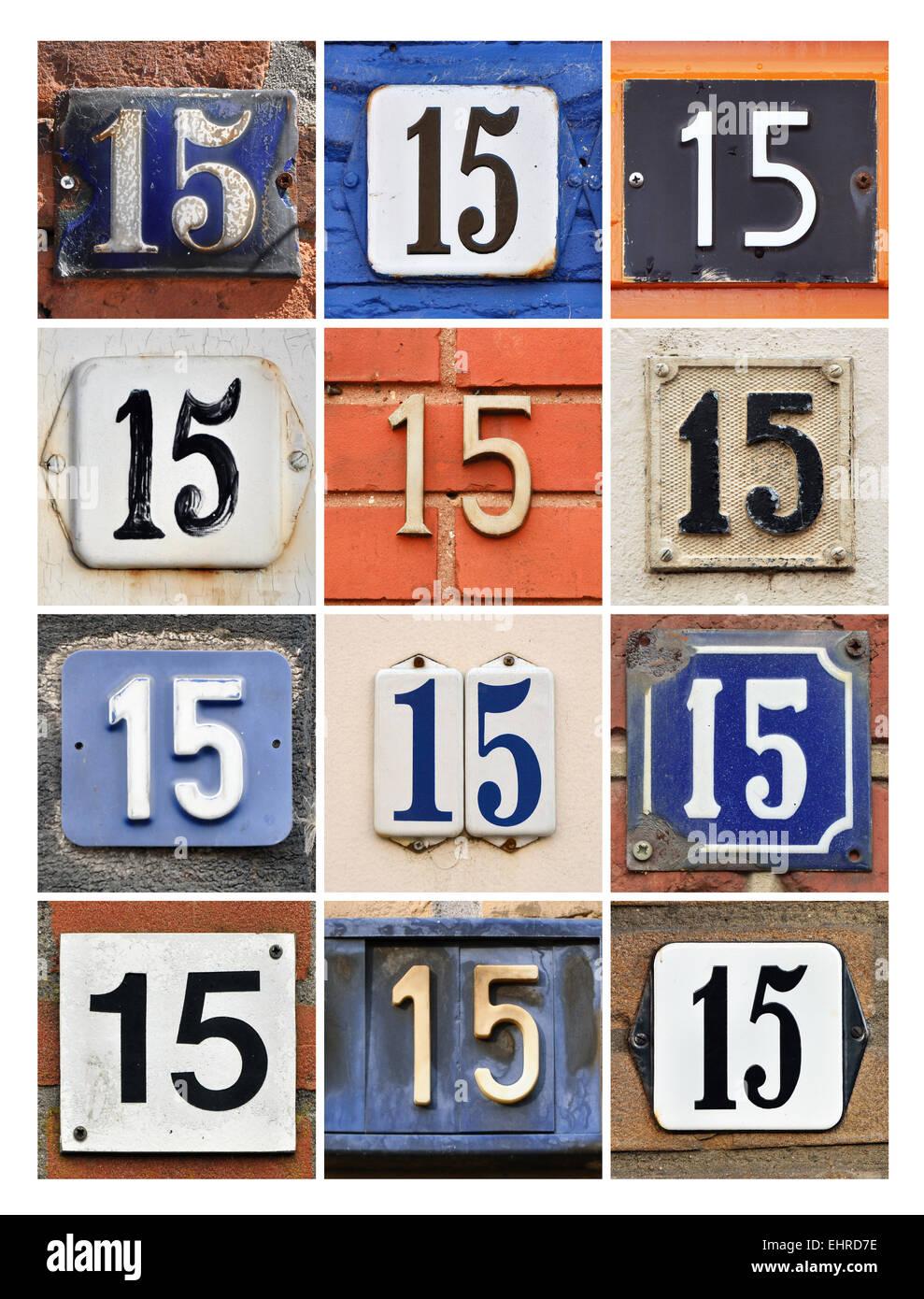 Numéro 15 - Collage de quinze numéros de maison Photo Stock