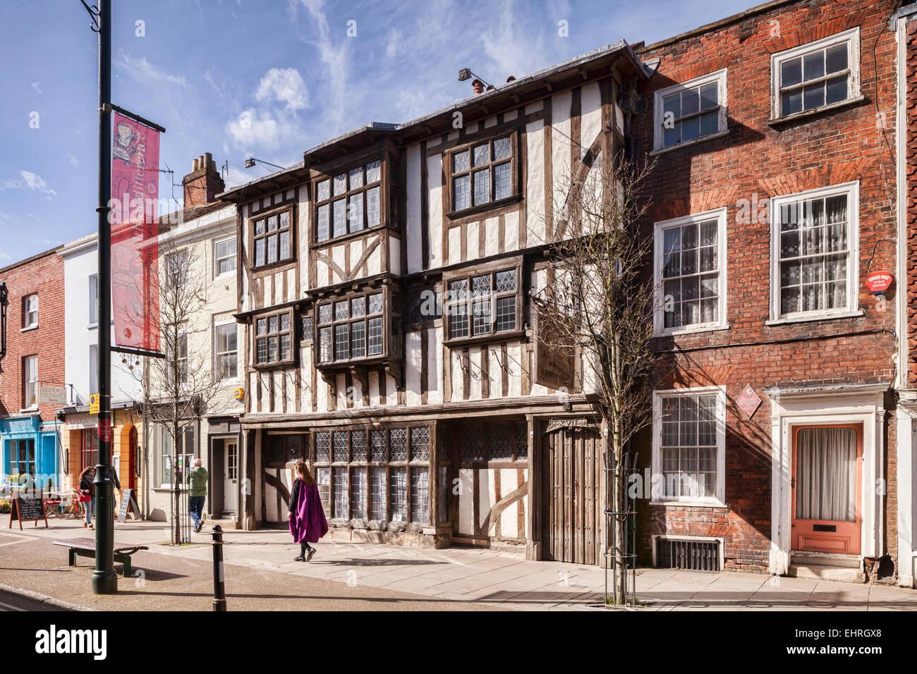 Conquête House, un bâtiment historique de Kent, dans Palace Street, Canterbury, Kent, England, UK. Banque D'Images