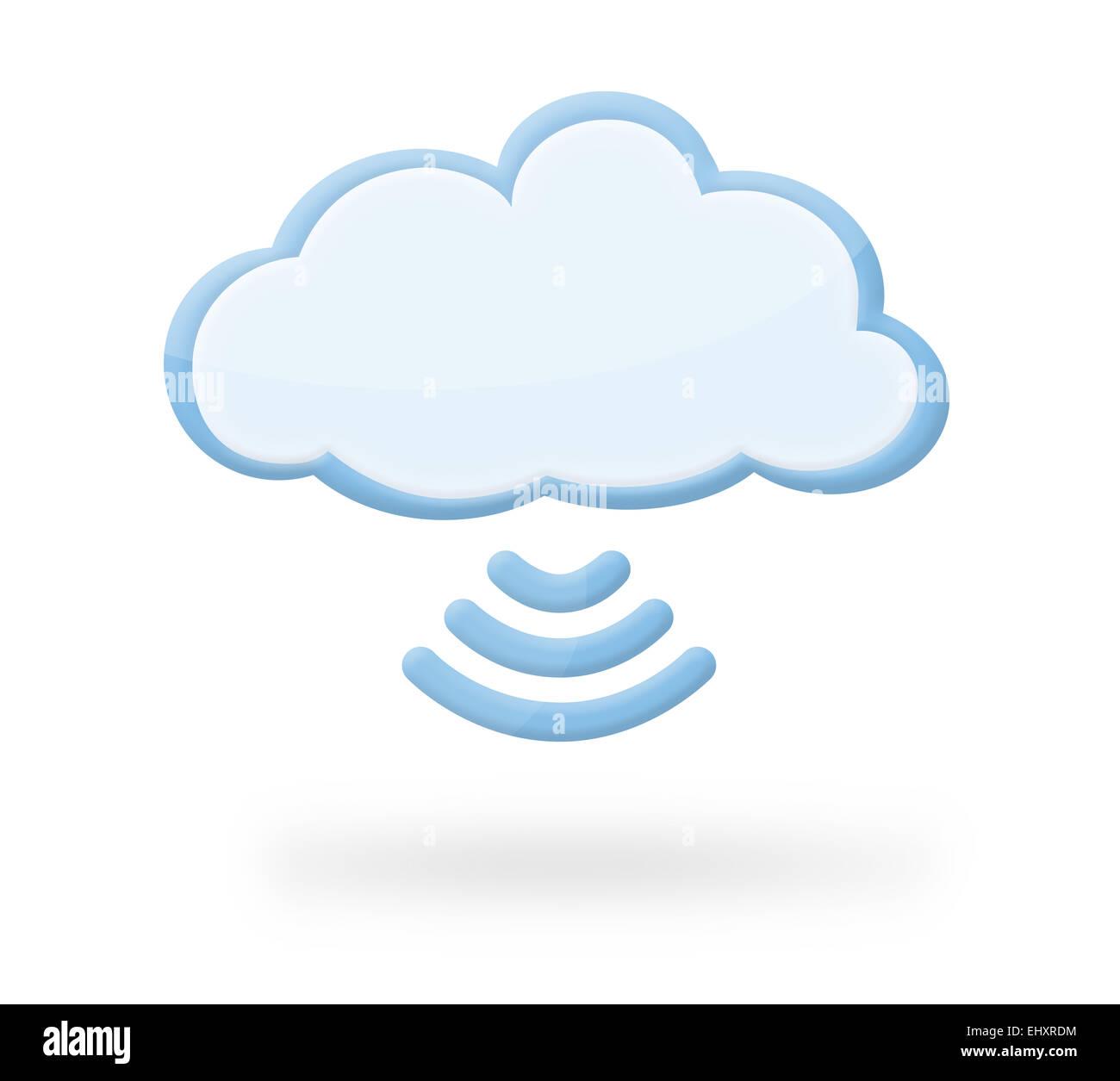 Icône nuage moderne avec connexion wi-fi et symbole de l'ombre, ce qui pourrait représenter l'informatique Photo Stock