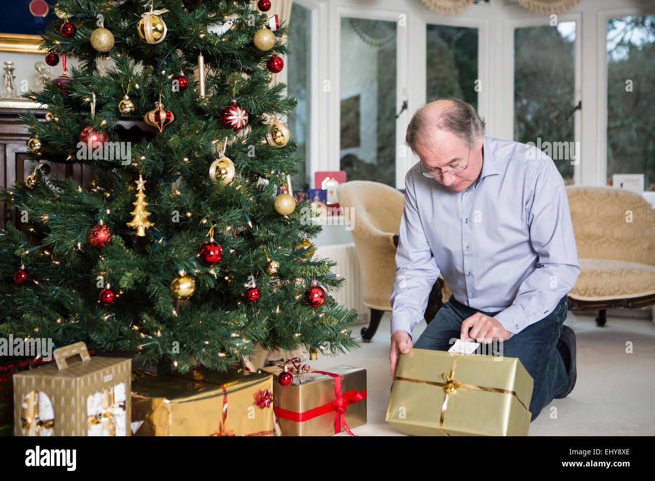 Cadeau de Noël par colis Photo Stock