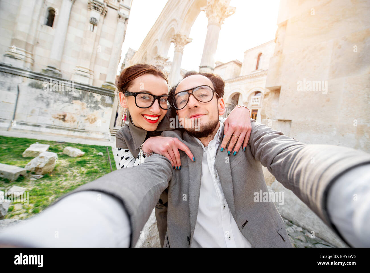 Couple taking photo selfies Photo Stock