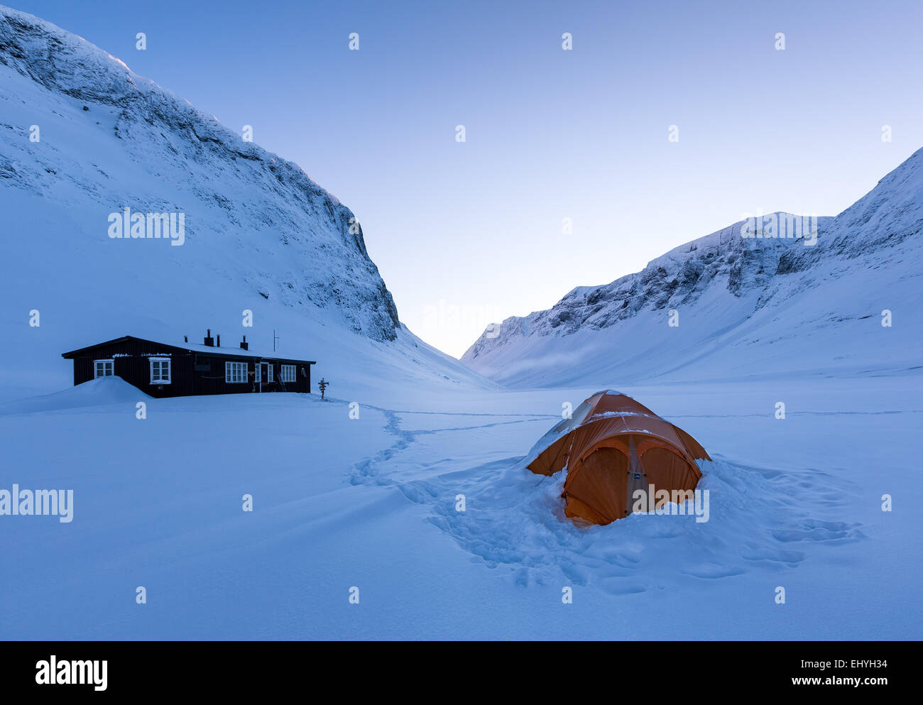 Nallostugan, zone de montagne Kebnekaise, Kiruna, Suède, Europe, UNION EUROPÉENNE Photo Stock