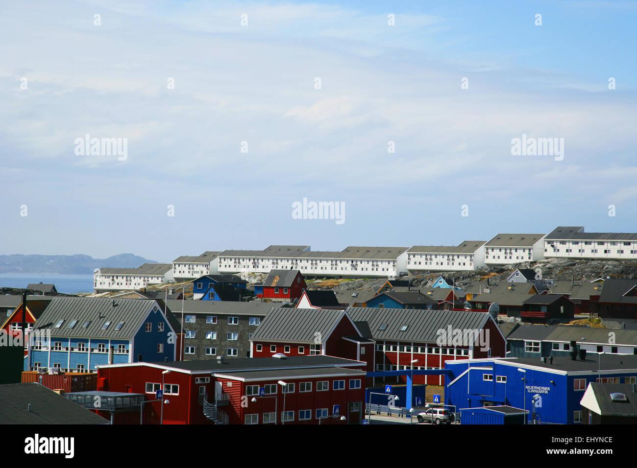 Bâtiments de Nuuk, Groenland Banque D'Images