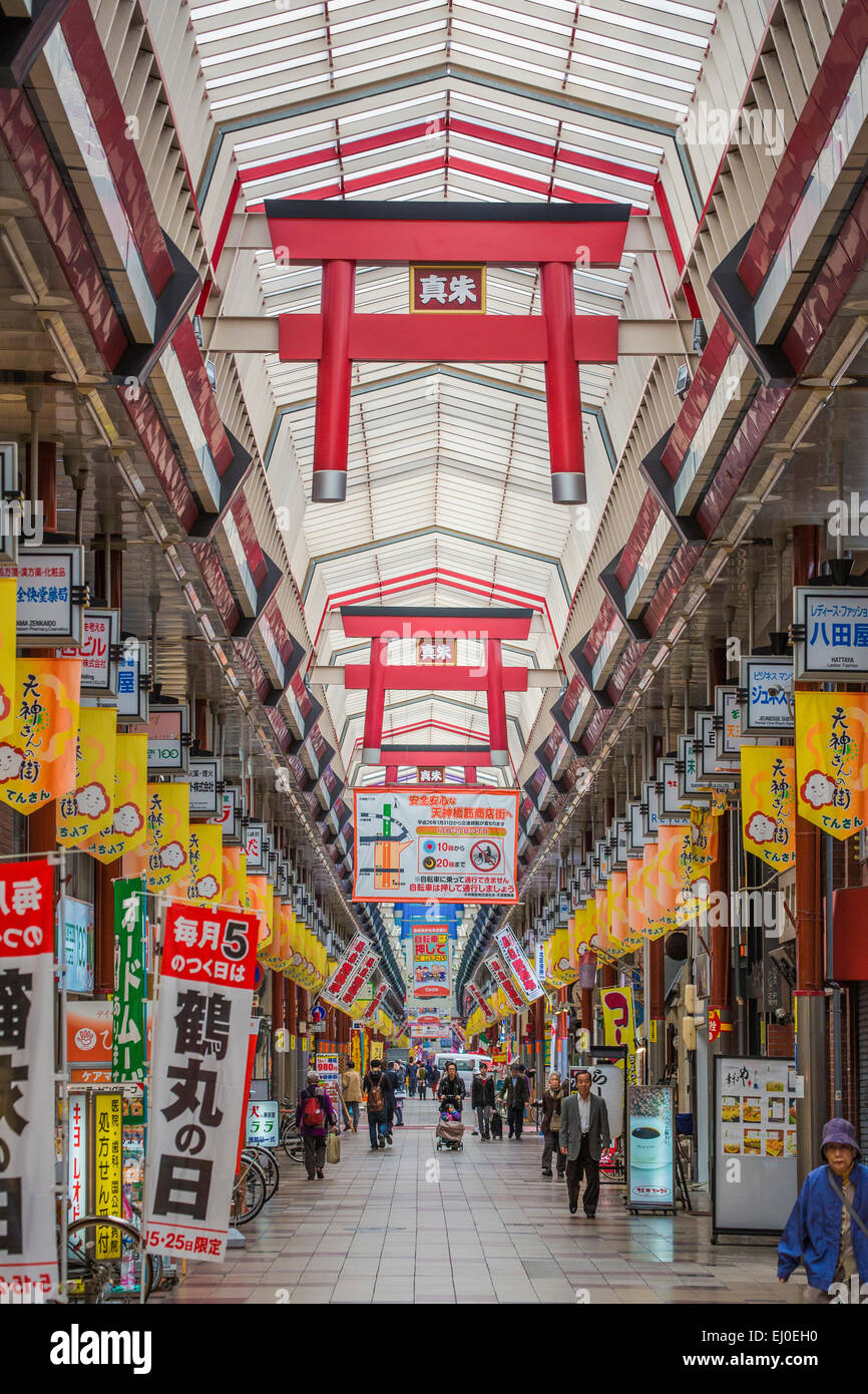 Le Japon, l'Asie, Kansai, Osaka, Ville, architecture, Tenjimbashisuji, colorée, automne, shopping, street, Photo Stock