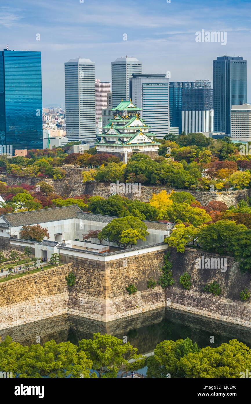 Le Japon, l'Asie, Kansai, Paysage, Osaka, château, architecture, colorée, automne, forteresse, histoire, Photo Stock