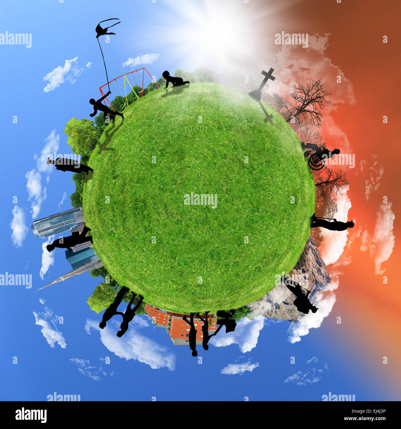 La vie humaine, concept de cercle sur un globe, le vieillissement. Photo Stock
