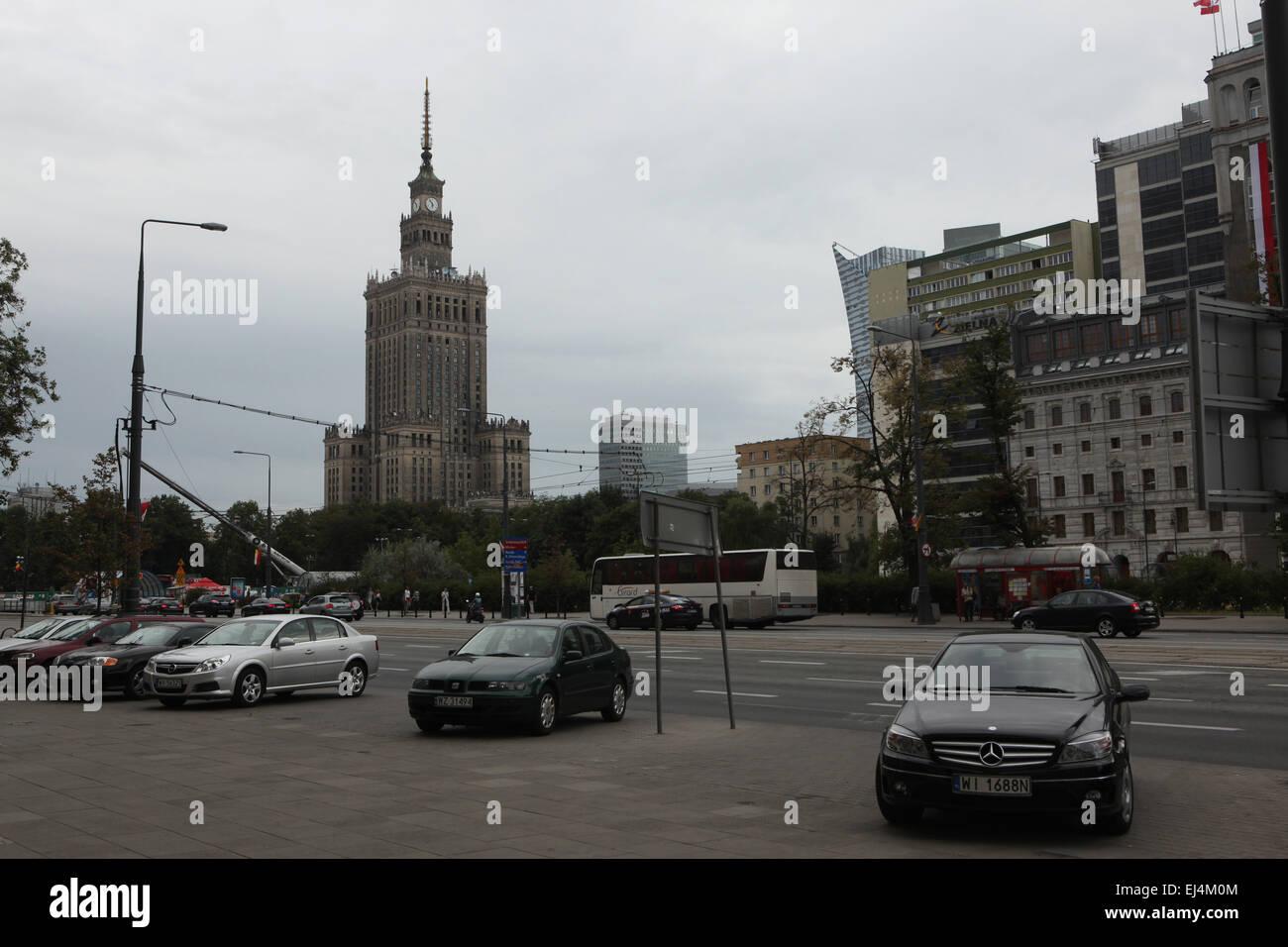 Palais de la Culture et de la science à Varsovie, Pologne. Photo Stock