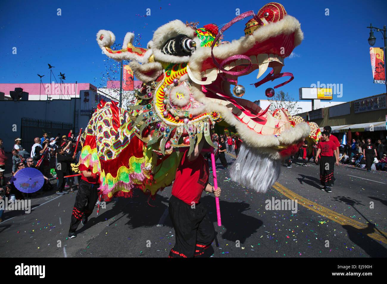 115e défilé Golden Dragon, Nouvel An Chinois, 2014, année du cheval, Los Angeles, Californie, USA Photo Stock