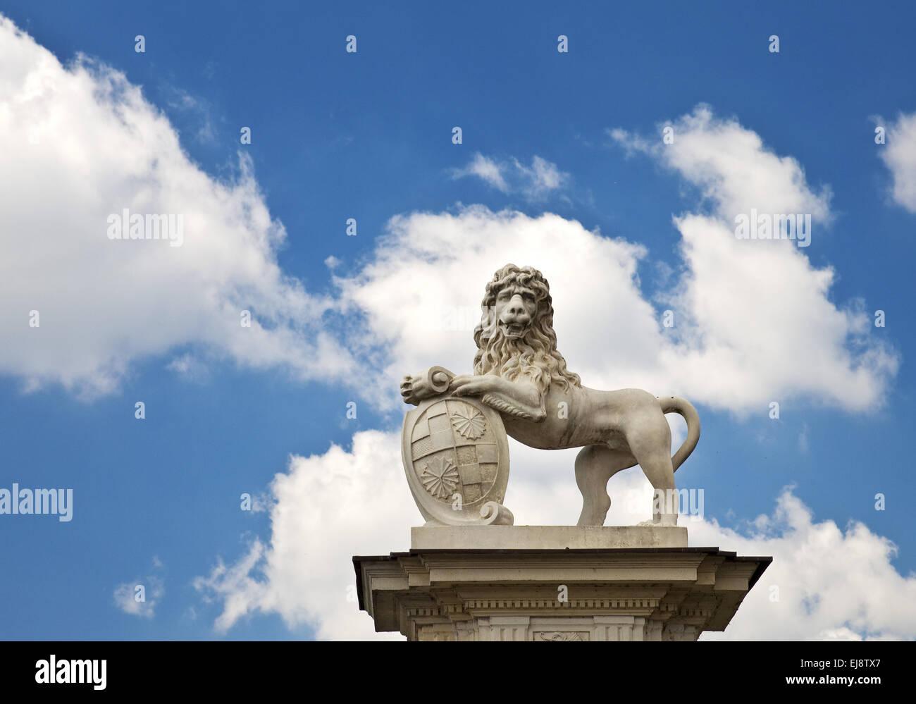 Lion sculpture, Allemagne, Palais Nordkirchen Banque D'Images