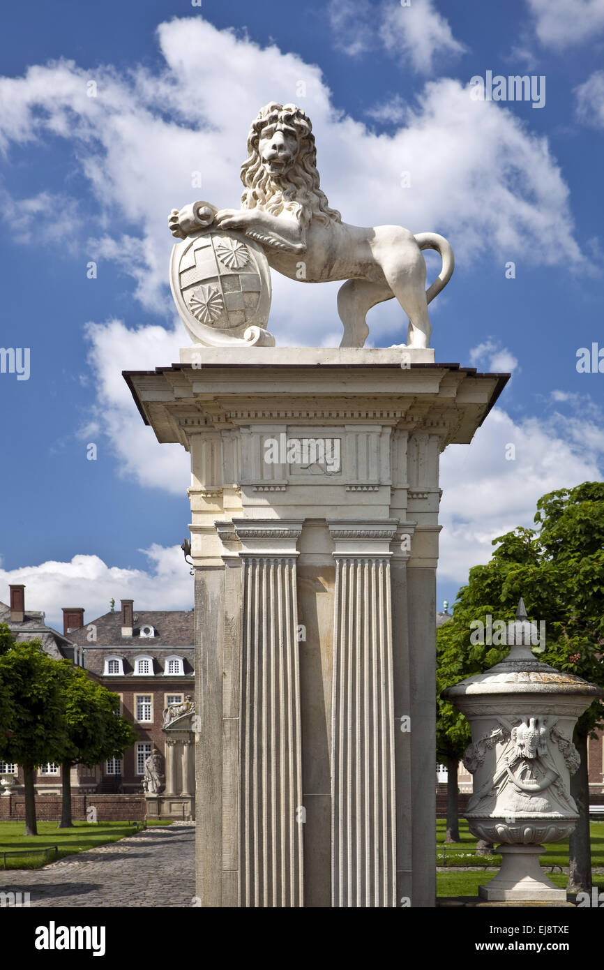 Lion sculpture, Allemagne, Palais Nordkirchen Photo Stock
