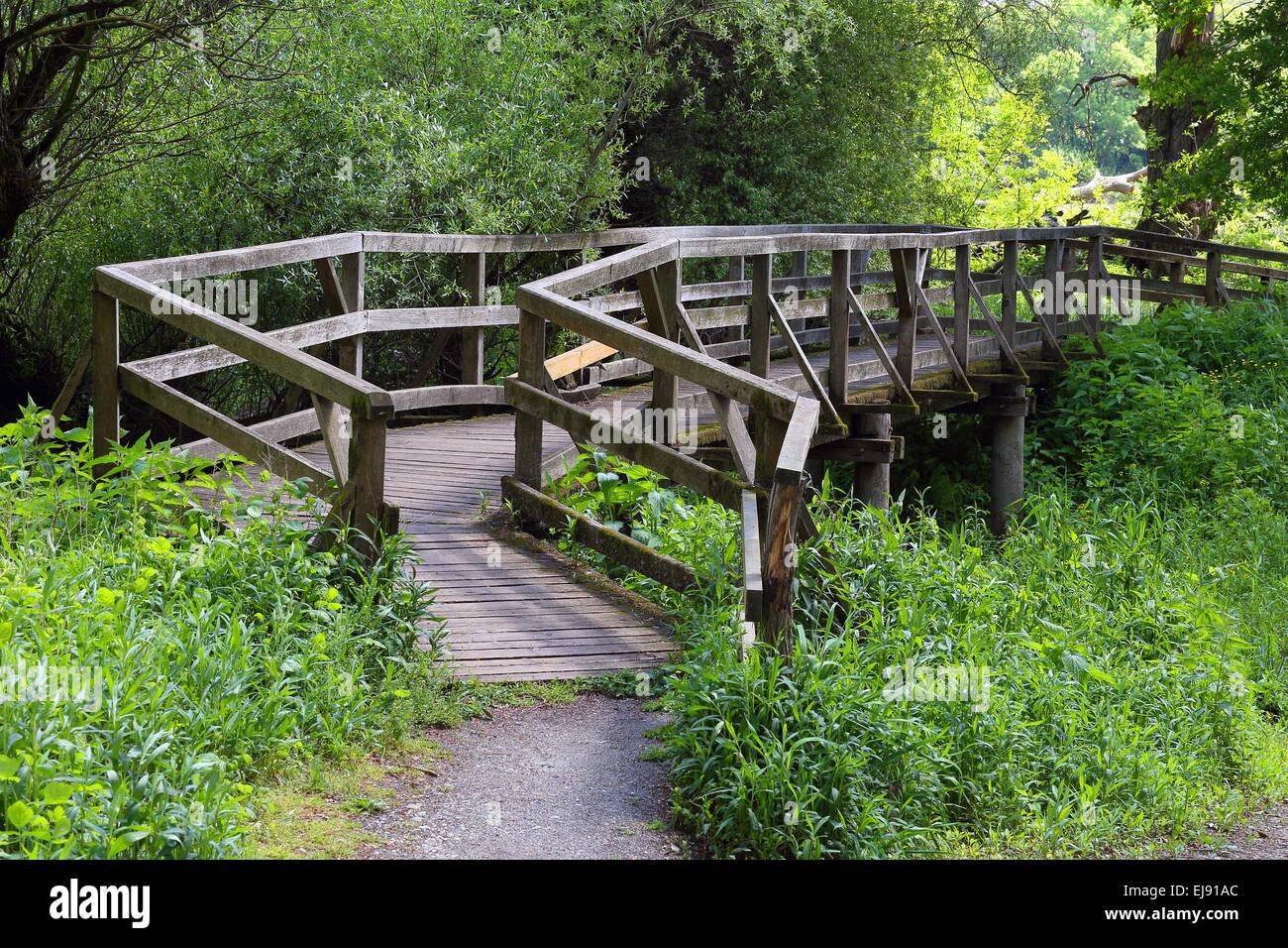 Pont en bois, Waidhofen/Ybbs, Autriche Banque D'Images