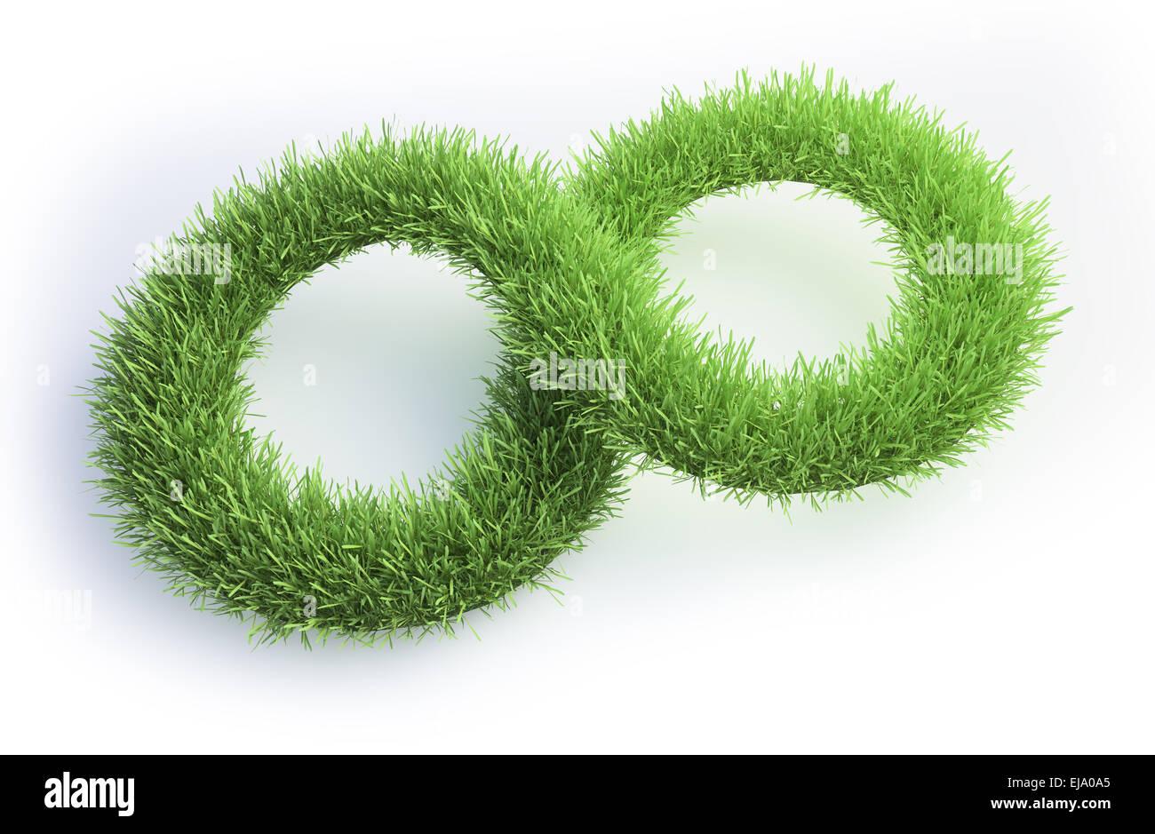 Patch d'herbe en forme de symbole de l'infini. Photo Stock