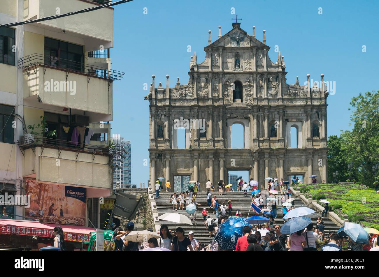 Ruines de Saint-Paul's à Macao Photo Stock