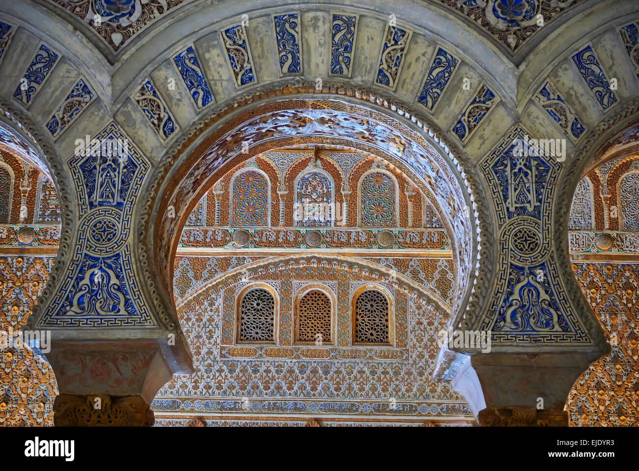 Mudjar Arabesque gypseries du 12ème siècle Salón de Embajadores (ambassadeurs' Hall ). Alcazar Photo Stock