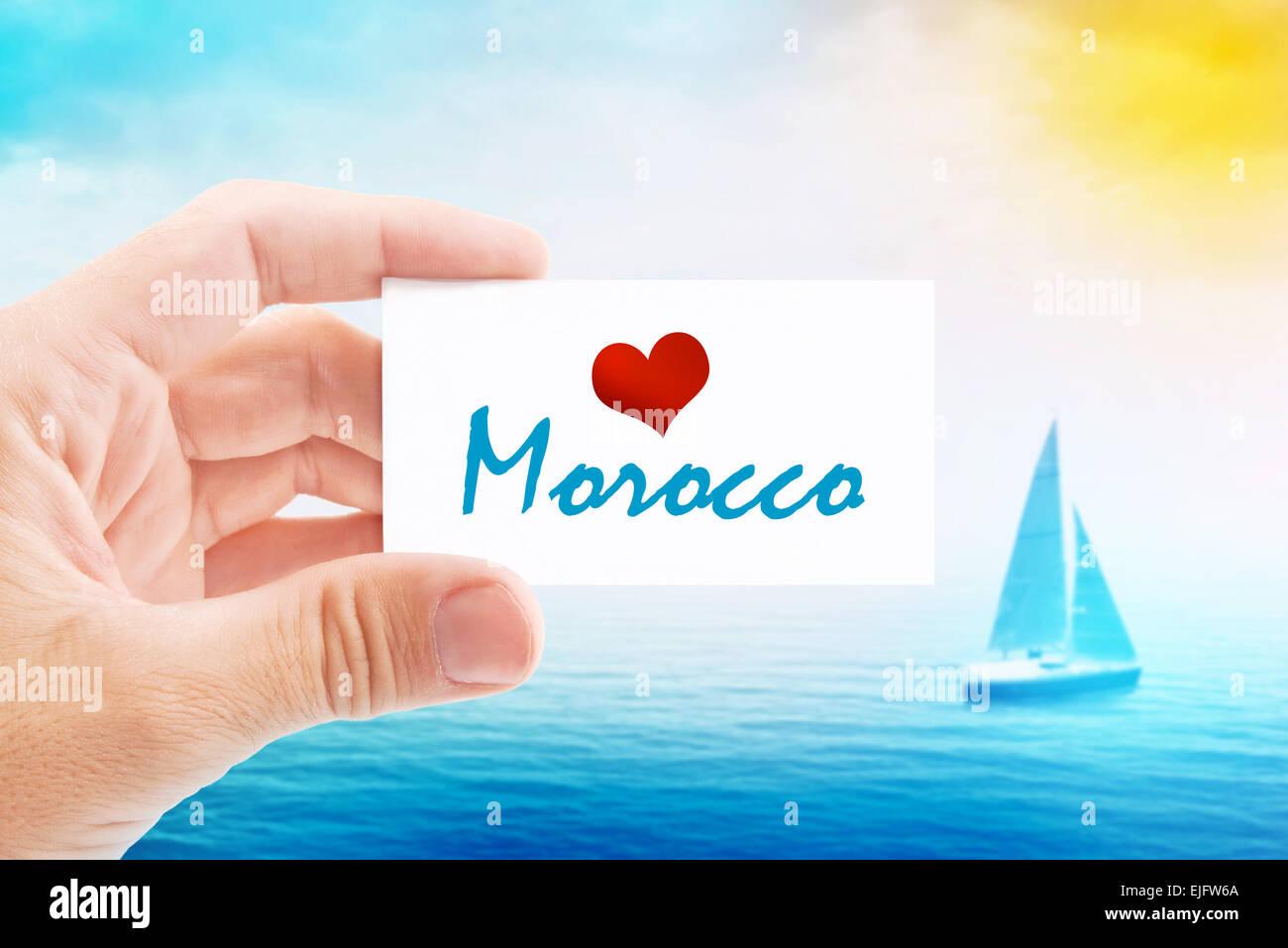 Les Vacances Dt Sur Le Maroc Dtenteur De Carte Visite Pour Lt Maison Lamour Message Et Voilier En Mer I