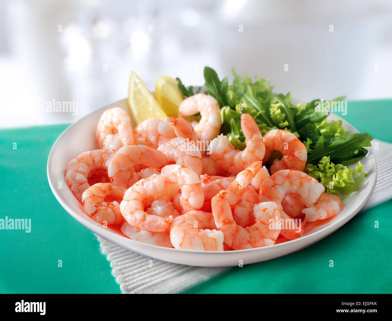Crevettes fraîches cuites et salade Photo Stock
