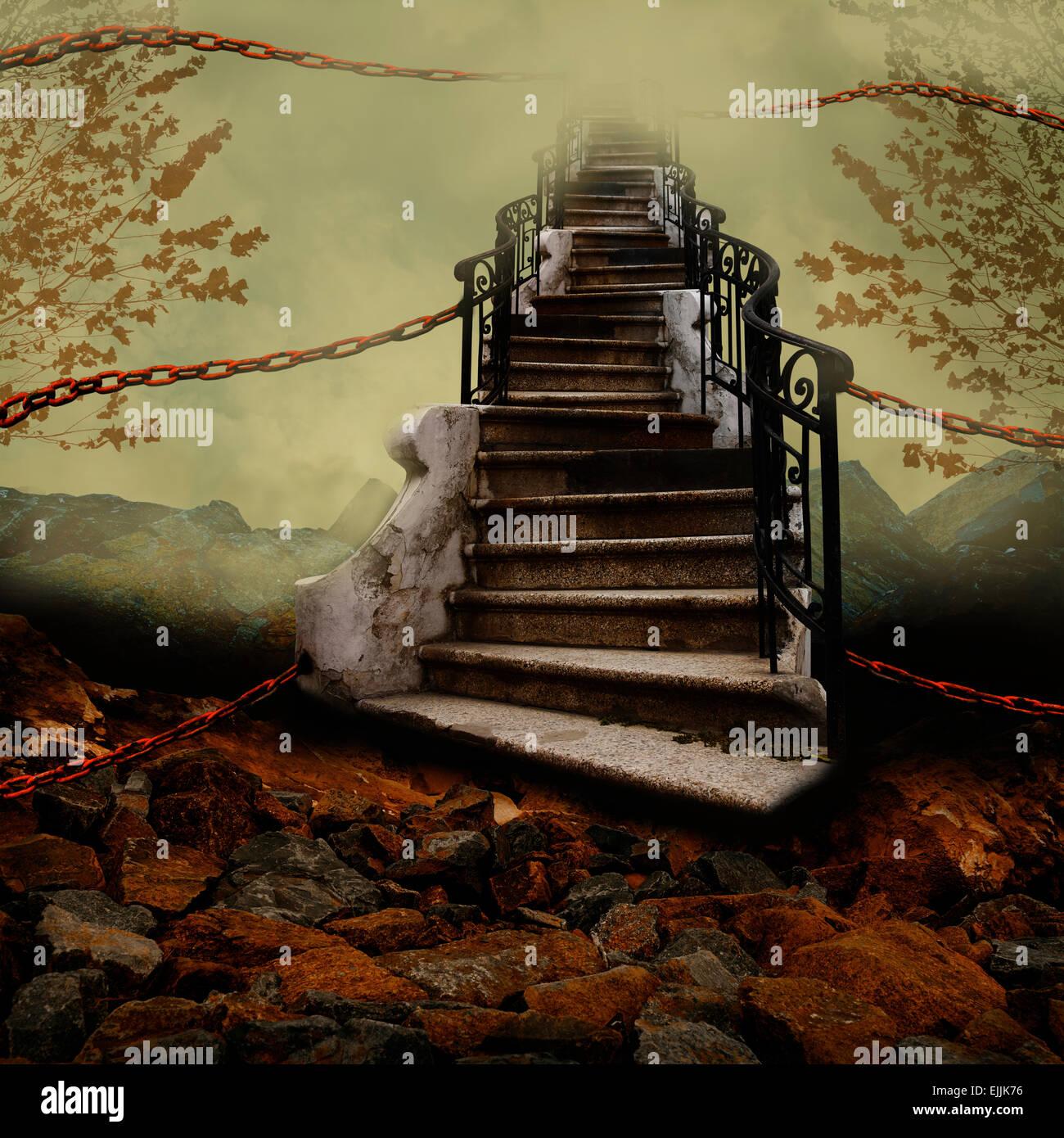 Escalier vers le ciel avec les chaînes d'orange. Photo Stock