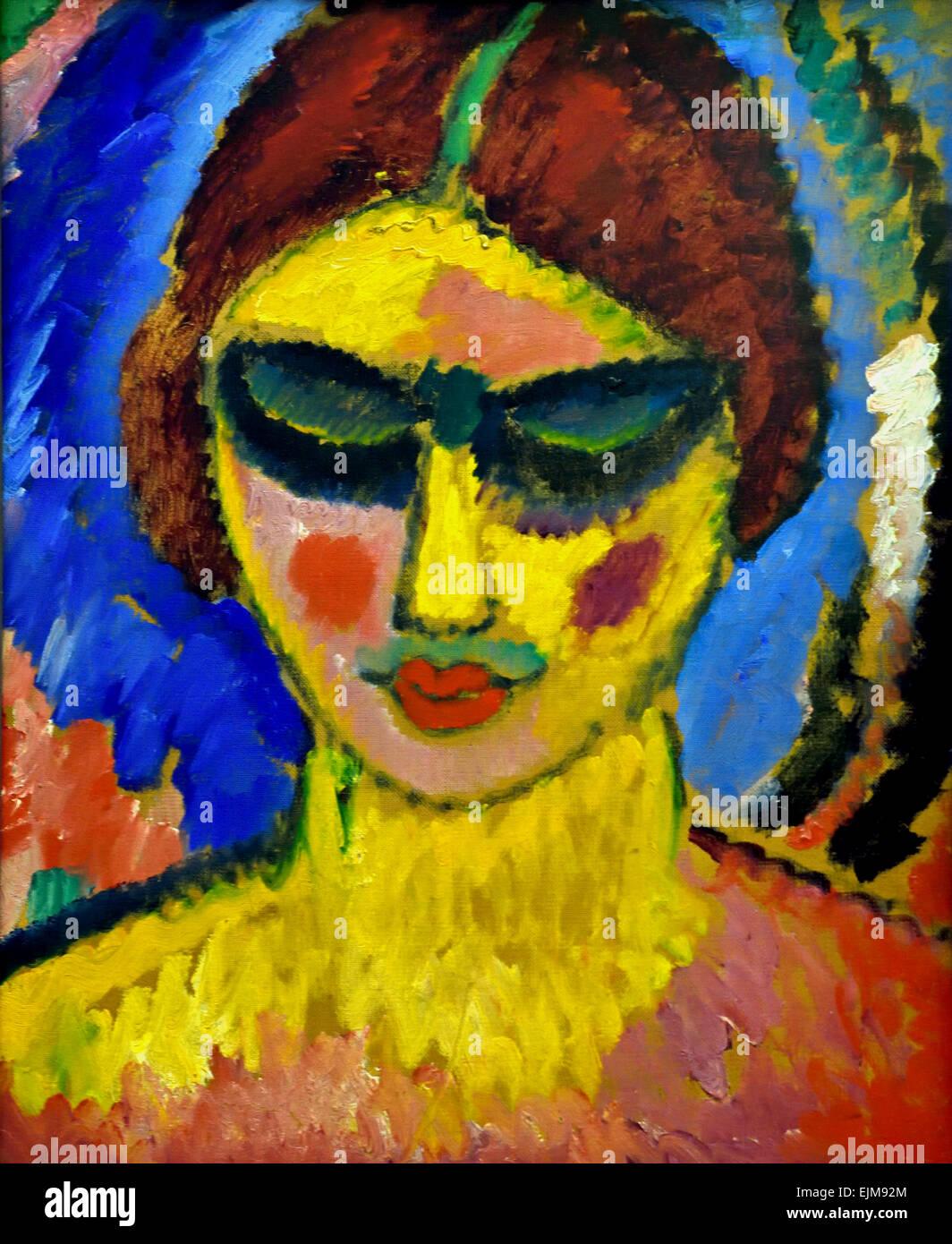 Madchen mit Niedergeschlagenen Augen - fille aux yeux baissés 1912 Alexej von Jawlensky 1864-1941 Russie Fédération Photo Stock