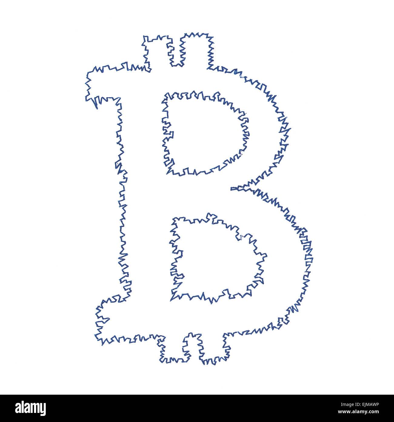 Bitcoin dentelée, symbole d'un dessin fait main cryptocurrency décentralisée numérique, lettre B sur fond blanc. Banque D'Images