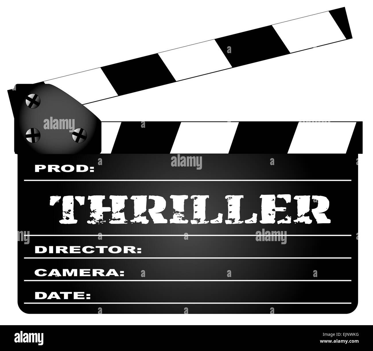 Un film typique meissen avec la légende Thriller isolé sur blanc. Photo Stock